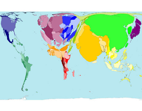 World population cartograms 1900 2000 2050 the daily green a cartogram showing world population in 1900 gumiabroncs Gallery