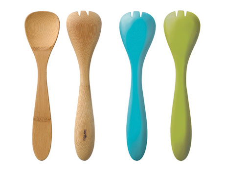 bamboo serving spoons, assorted colors, from bambu at branchhome