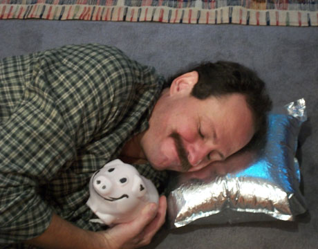 jeff yeager sleeps on a pillow made from the bladder of box wine